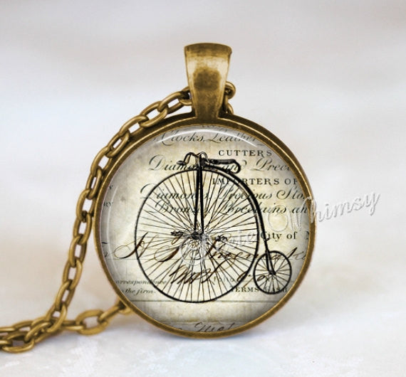 BICYCLE Pendant Necklace Jewelry Keychain Penny Farthing Hipster Vintage Antique English Bike Bicycle Victorian Illustration Art Biker Gift