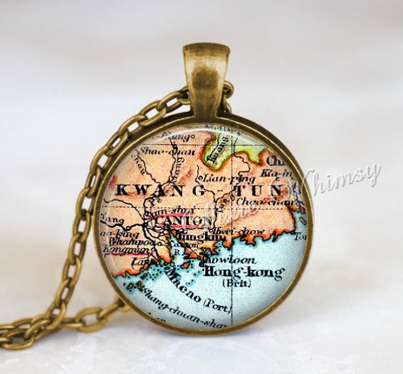 CHINA MAP Necklace Pendant, China Map Jewelry, China Keychain, Hong Kong China Map, China Souvenir, Vintage China Map, Canton Kowloon