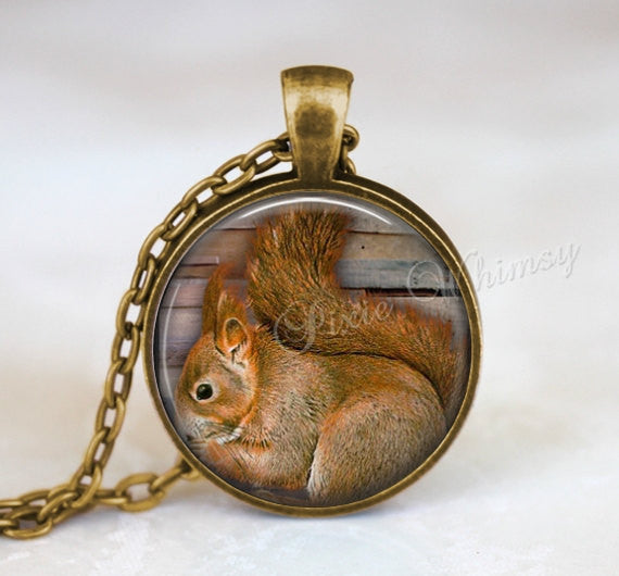 SQUIRREL Necklace Pendant Jewelry Charm Keychain, Glass Photo Art Necklace Pendant, Woodland Jewelry, Nature Jewelry, Forest Jewelry