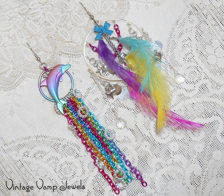 Feather Earrings, Rainbow Statement Earrings, Dolphin Mismatched Asymmetrical Earrings, One Of A Kind Charm Earrings Dangle Assemblage