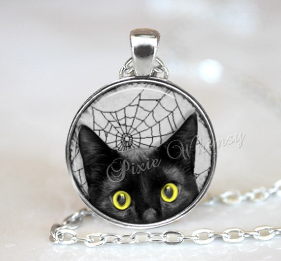 BLACK CAT Pendant Necklace or Keychain, Halloween Jewelry, Spider Web Spiderweb Gothic Jewelry