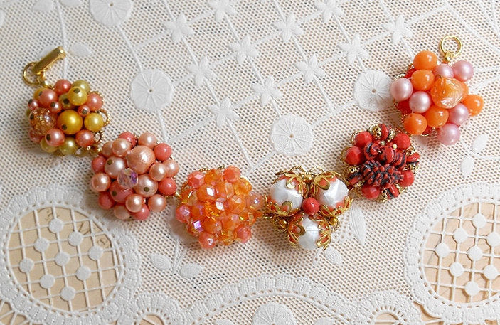 Earring Assemblage Bracelet, Autumn Fall Colors Orange Jewelry Bracelet, Halloween Bracelet, One Of A Kind OOAK Bracelet Upcycled Repurposed
