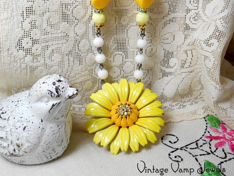SUNFLOWER Necklace One Of A Kind Assemblage Upcycled Repurposed Vintage Charm Bohemian Altered Art Beaded Necklace Yellow Flower