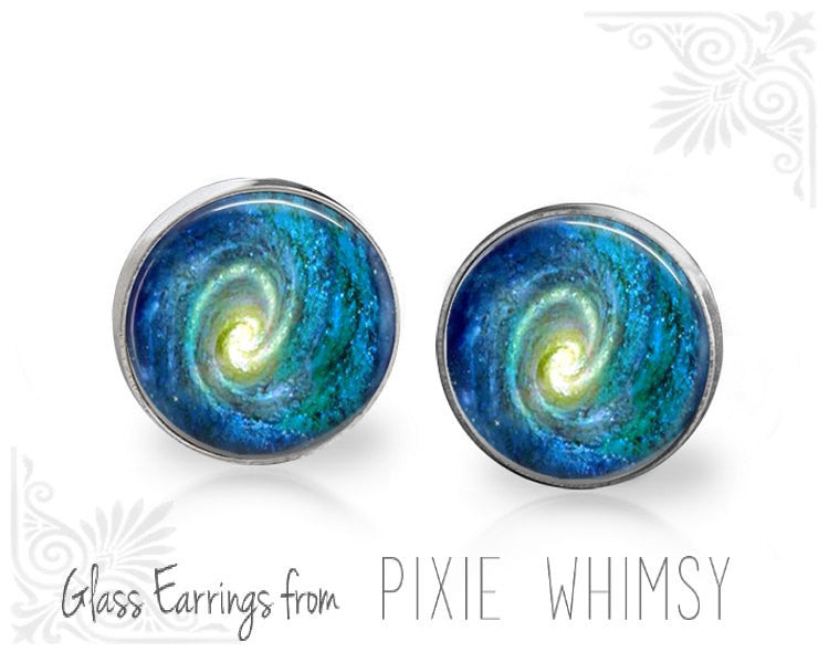 SPIRAL GALAXY Earrings, Galaxy Stud Earrings, Galaxy Post Earrings, Stud Earrings, Pierced Earrings, Spiral Galaxy Jewelry, Galaxy Studs