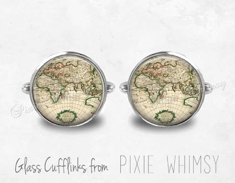 WORLD MAP Cufflinks, World Map Cuff Links, Vintage Map Cuff Links, Silver Cufflinks, Antique Map Cufflinks, Mens Accessories, Gift For Men