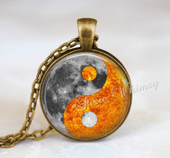 YIN YANG Pendant, Yin Yang Moon Sun Necklace, Yin Yang Keychain, Yin Yang Jewelry, Full Moon, Sun, Universe, Galaxy, Outer Space, Planet