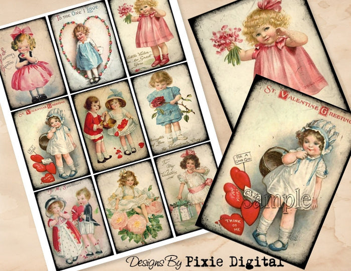 VALENTINES DAY Digital Collage Sheet Download Printable Clipart Gift Hang Tag Victorian Card ATC Scrapbooking Vintage Children Shabby Images