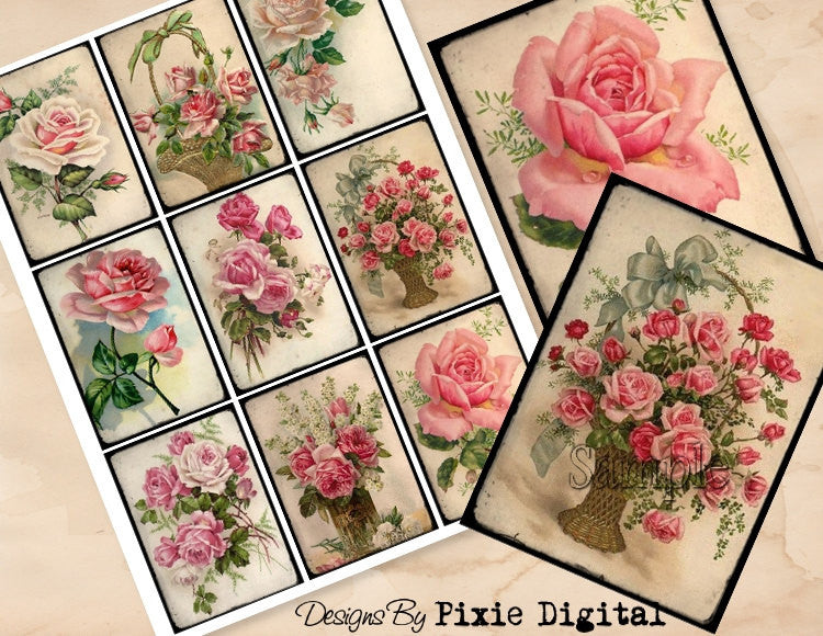 ROSES Digital Collage Sheet Images Clipart Printable Download Shabby Cabbage Rose Hang Tags Flower Journal Cards ATC Scrapbooking Gift Tag