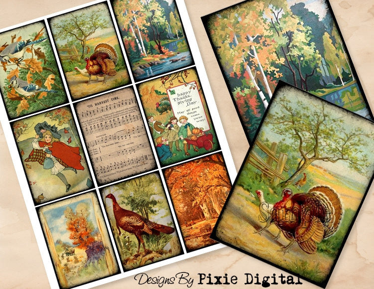 THANKSGIVING Digital Collage Sheet Printable Images Clip Art Hang Tags, Journal Cards, ATC, Scrapbooking, Gift Tags, Autumn Fall Turkey