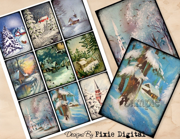 WINTER Digital Collage Sheet Snow Scene Instant Download Printable Vintage Tags Journal Cards ATC Scrapbooking Images Christmas Clipart