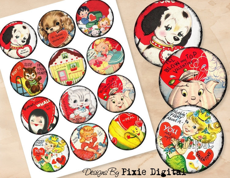 VALENTINES DAY Digital Collage Sheet Download 2.5 Inch Circles Printable Clipart Gift Tags Cupcake Topper Scrapbooking Vintage Retro Images