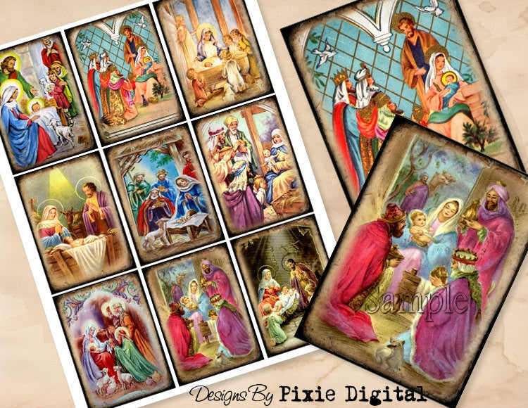 CHRISTMAS NATIVITY Digital Collage Sheet, Instant Download, Printable Vintage Christmas Tags, Journal Cards, ATC, Religious Christian Images