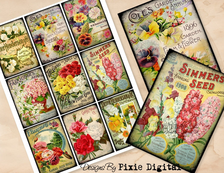 SEED CATALOG Flowers Digital Collage Sheet Download Printable Vintage Floral Clipart Gift Hang Tags Journal Cards ATC Scrapbooking Images