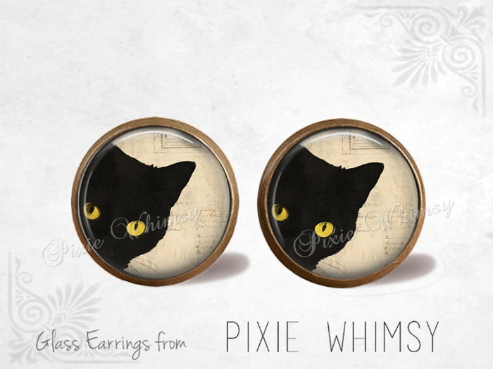 CAT Earrings, Black Cat Earrings, Cat Jewelry, Cat Stud Earrings, Cat Post Earrings, Stud Earrings, Post Earrings, Pierced Earrings Gothic