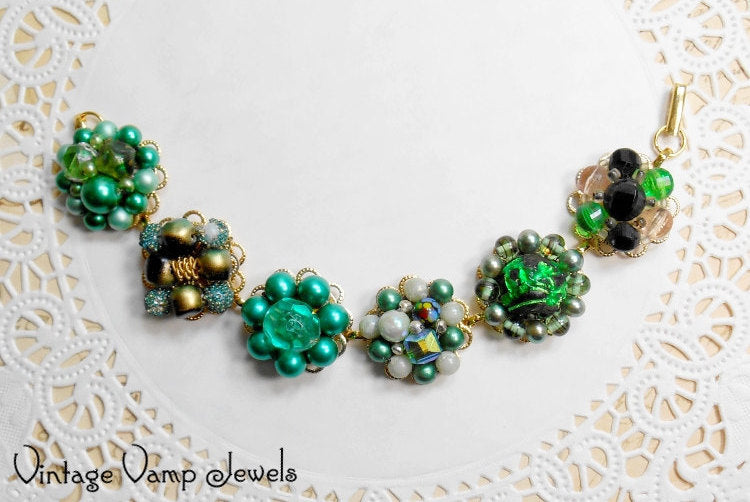 Earring Bracelet Emerald Green Gold Handmade Jewelry Assemblage One of a Kind Statement Upcycled Repurposed Beaded Christmas