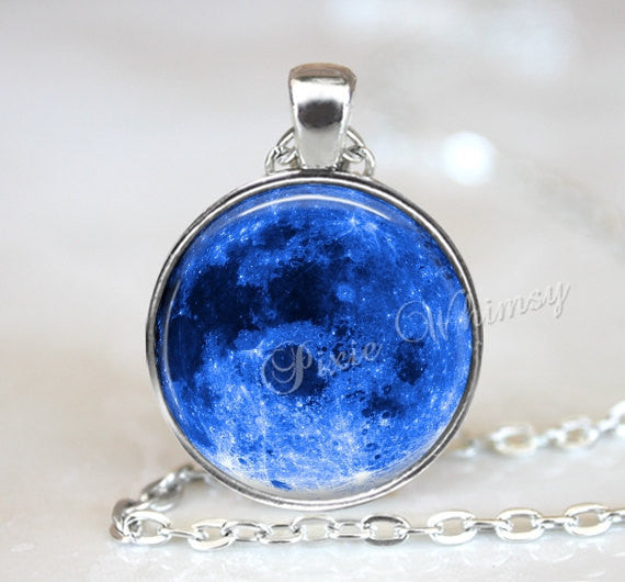 BLUE MOON Necklace Pendant Full Moon Jewelry Keychain Glass Art Pendant Space Galaxy Outer Space Astronomy Astronomer Celestial Handmade