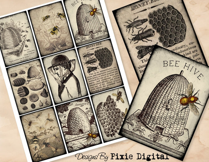 BEES Digital Collage Sheet Download Printable Beekeeping Beehive Honey Postcard Clipart Gift Hang Tags Journal Cards ATC Scrapbooking Images