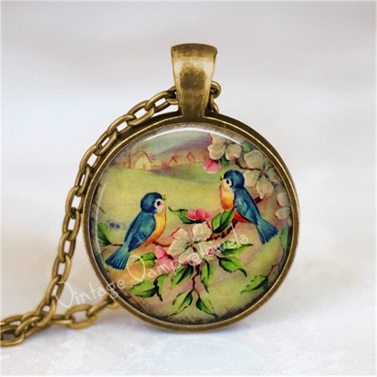 BLUEBIRD Pendant Necklace Jewelry Dogwood Flower Vintage Lovebird Glass Photo Art Gift for Bird Lover Bluebird of Happiness