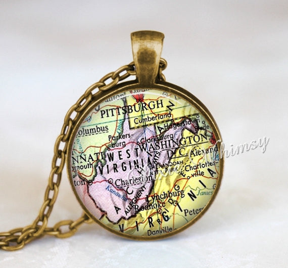 WEST VIRGINIA MAP Pendant Necklace or Keychain Keyring Vintage West Virginia State Jewelry Souvenir