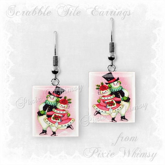 CHRISTMAS SNOWMAN Scrabble Tile Earrings Vintage Christmas Jewelry Retro Nostalgia, Pink Christmas, Ice Skating Snowmen, Christmas Kitsch