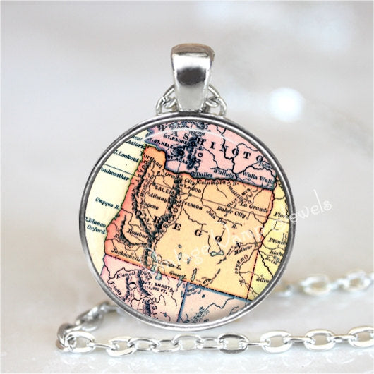OREGON Map Pendant Necklace Glass Photo Art Vintage Map Jewelry Antique USA Map Salem Portland Eugene