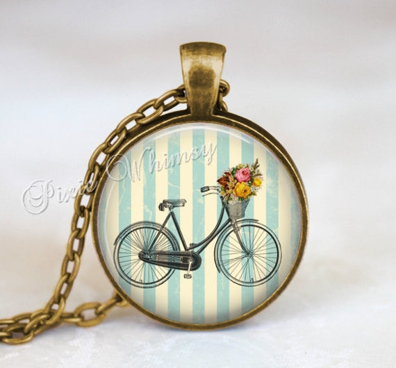 BICYCLE Necklace Pendant Jewelry or Keychain Shabby Blue Cottage Flowers Vintage Antique Bike Flower Basket Bicycle Art