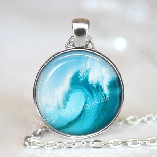 WAVE Pendant Necklace Ocean Surf Surfing Beach Nautical Glass Tidal Wave Photo Art Jewelry Blue Aqua Bronze or Silver