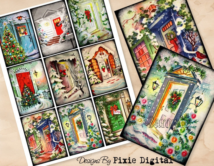 CHRISTMAS DOORS Digital Collage Sheet Download Printable Postcard Clipart Gift Hang Tags Journal Cards ATC Scrapbooking Vintage Retro Images