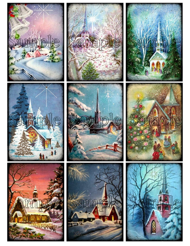 CHRISTMAS CHURCH Digital Collage Sheet Instant Download Printable Vintage Winter Scene Tags Journal Cards ATC Religious Christian Images