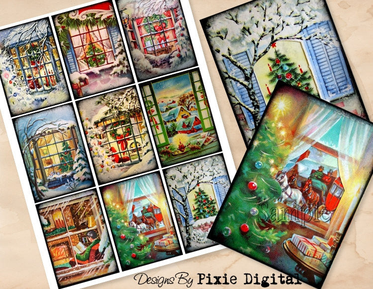 CHRISTMAS WINDOWS Digital Collage Sheet Download Printable Postcard Clipart Images Gift Tags Journal Cards ATC Scrapbooking Vintage Retro