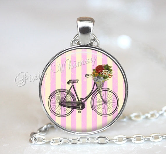 BICYCLE Necklace Pendant Jewelry or Keychain Shabby Pink Cottage Flowers Vintage Antique Bike Flower Basket Bicycle Art