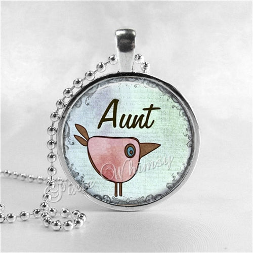 AUNT Pendant Necklace, Aunt Glass Art Pendant Jewelry, Gift for Aunt, Family Relative Jewelry