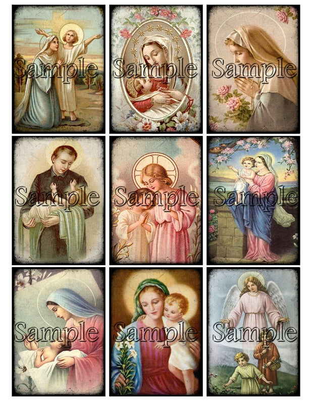 HOLY CARDS Digital Collage Sheet, Instant Download Printable Christian Images Prayer Tags Journal  ATC, Religious  Christ Jesus Mary Saints