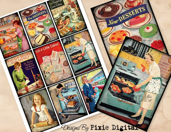 COOKING Baking Digital Collage Sheet Download Printable Clipart Gift Tags Cards ATC Scrapbooking Vintage Retro Kitchen Images