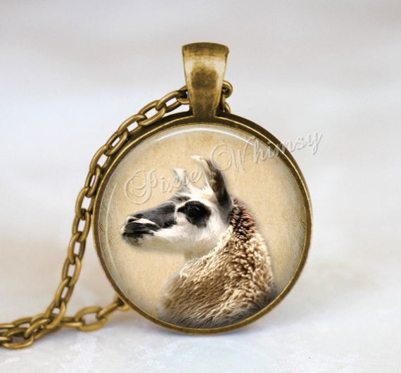 LLAMA Pendant Necklace, Llama Photo Art Jewelry, Gift for Llama Lover Owner, Handmade Glass Photo Animal Art Necklace Pendant