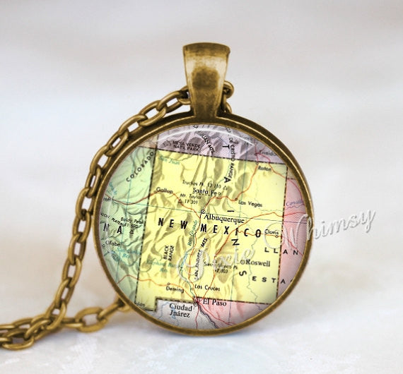 NEW MEXICO MAP Necklace Pendant, New Mexico Keychain, New Mexico Map Jewelry, Vintage New Mexico Map, New Mexico Souvenir