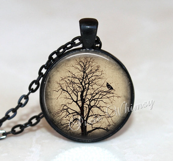 RAVEN In TREE Pendant Necklace Jewelry, Nature Photo Art Glass Necklace, Woodland Jewelry, Black Crow Bird In Spooky Tree Gothic