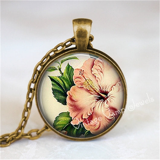 MAGNOLIA Pendant, Magnolia Flower Necklace Jewelry Charm, Glass Bezel Art Pendant Necklace, Magnolia Flower Jewelry