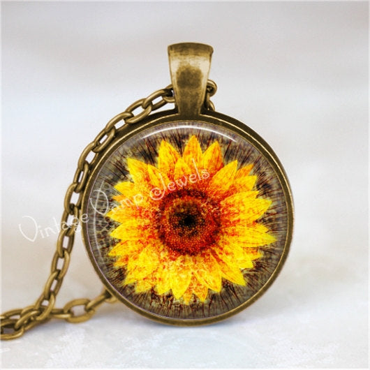 SUNFLOWER Pendant, Sun Flower Jewelry Charm, Glass Bezel Art Pendant Necklace, Botanical Nature Jewelry, Gift for Gardener