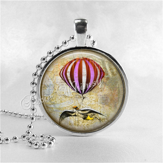 HOT AIR BALLOON Steampunk Necklace, Hot Air Balloon Pendant, Hot Air Balloon Jewelry, Glass Photo Art Pendant Charm Jewelry, Travel Jewelry