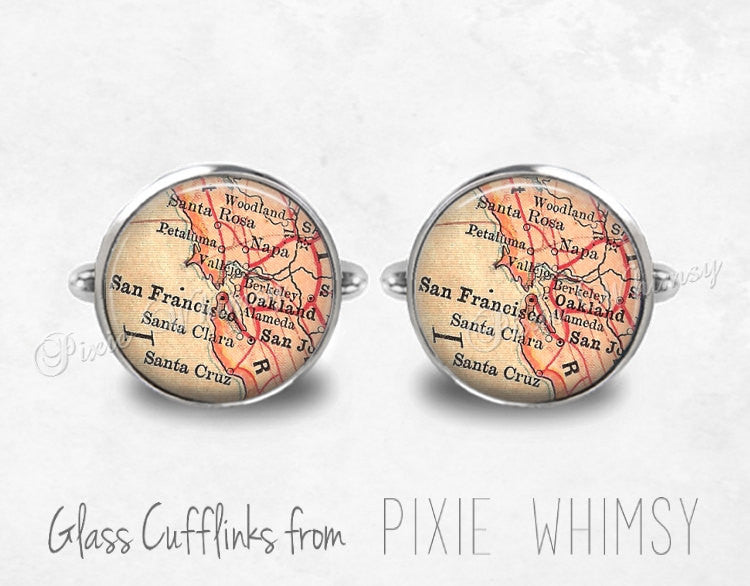 SAN FRANCISCO CALIFORNIA Map Cufflinks Cuff Links Vintage Map Cuff Links Silver Cufflinks Antique Cufflinks Mens Accessories, Gift For Men