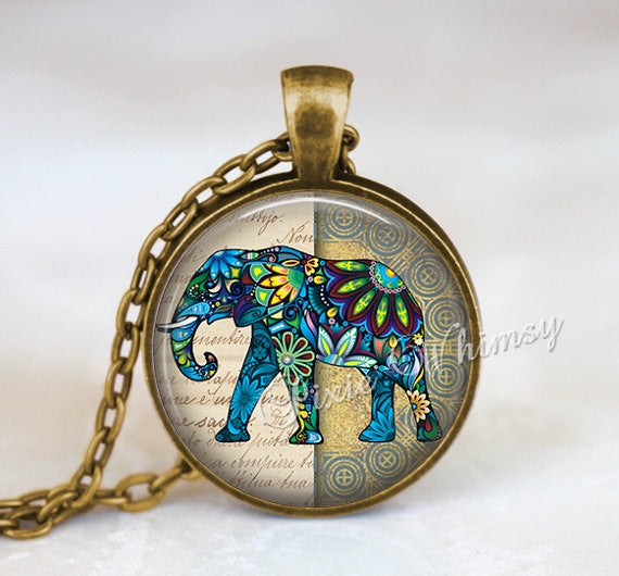 ELEPHANT Necklace Pendant Jewelry Keychain, Elephant Art Bohemian Blue Green Gift for Elephant Lover
