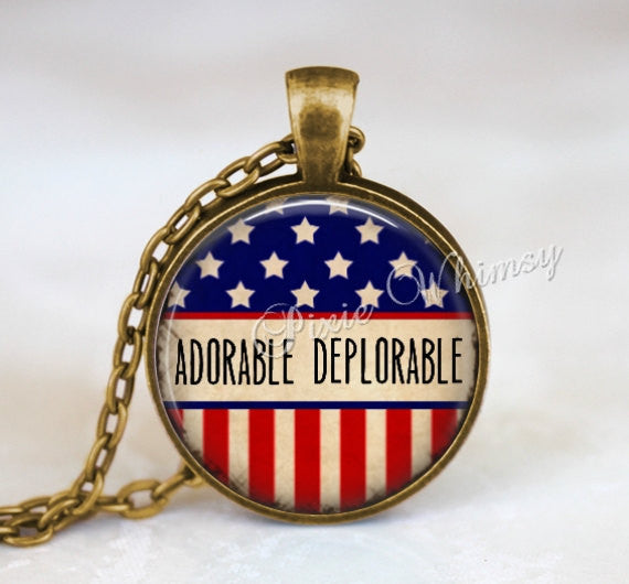 ADORABLE DEPLORABLE Pendant Necklace Keychain Jewelry The Basket of Deplorables Presidential Election 2016 President Donald Trump