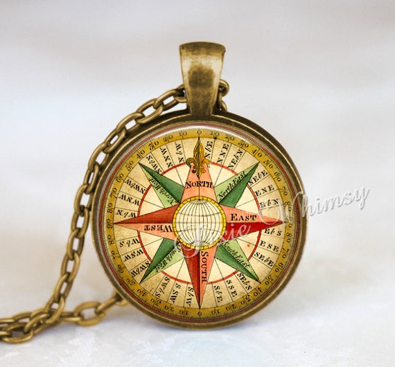 COMPASS Necklace Pendant Jewelry Keychain Nautical Steampunk Vintage Antique Compass Rose Travel Wanderlust Map Steam Punk Gold Red Green