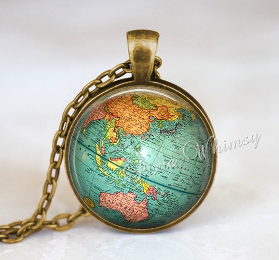 VINTAGE GLOBE Necklace Pendant Jewelry Keychain Planet Earth World Map Antique Travel Wanderlust Gypsy Bohemian Geography Geographical