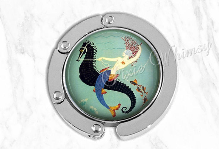 MERMAID Purse Hook Hanger Holder SeaHorse Siren Nymph Art Deco Bag Hook Purse Accessory Handbag Tote Bag Hanger Bridesmaid Gift Party Favor