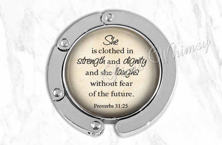 BIBLE Scripture Purse Hook Hanger Holder Bag Hook Accessory, Handbag Hanger, Tote Bag Hanger, Proverbs 31 25, She Is Clothed In Strength
