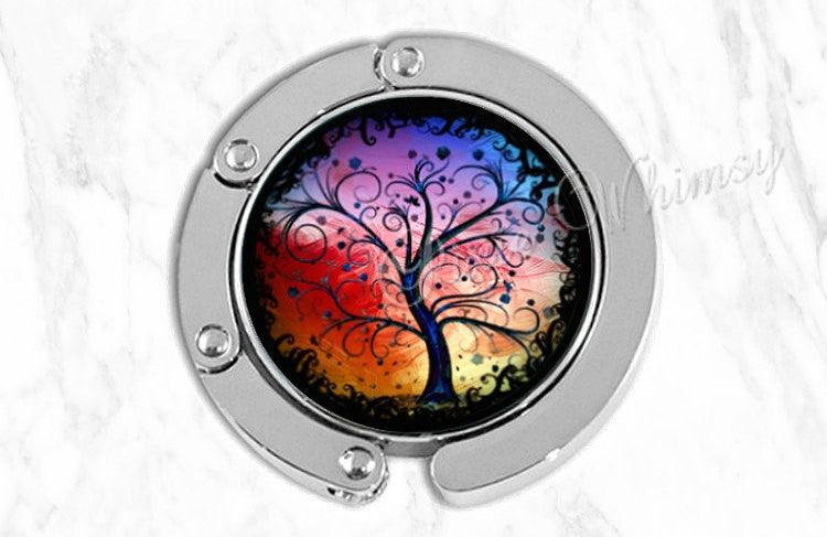 COLORFUL TREE Purse Hook Hanger Holder Bag Hook Curly Watercolor Tree Purse Accessory Handbag Tote Bag Hanger Bridesmaid Gift Party Favor