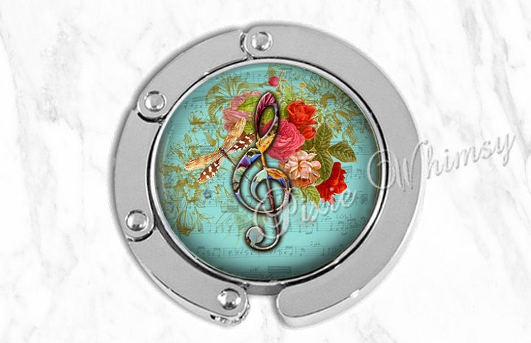 MUSIC Purse Hook, Purse Hanger, Purse Holder, Bag Hook, Purse Accessory, Handbag Hanger, Tote Bag Hanger, Treble Clef G Note Musician Gift