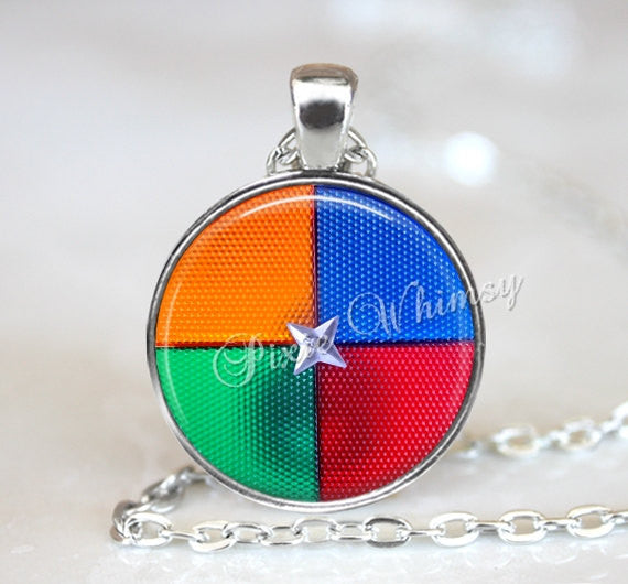CHRISTMAS TREE Color Wheel Necklace Pendant Jewelry Keychain Vintage Aluminum Tree Decoration Retro Kitsch Holiday Red Green Blue Yellow